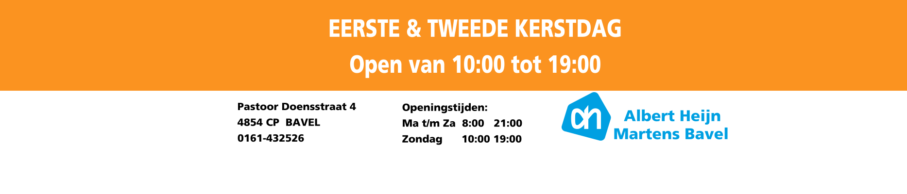 Zondag open van 10.00 tot 19.00 uur